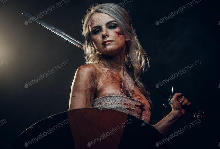 Fantasy woman warrior wearing rag cloth