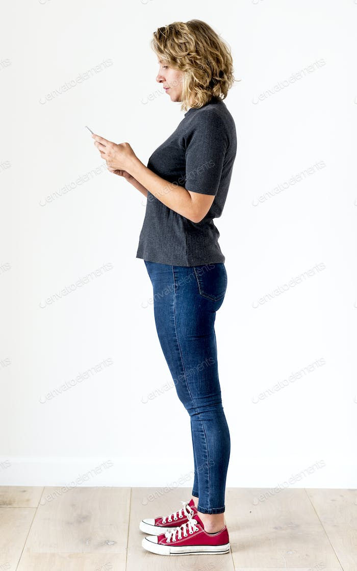 White woman using mobile phone