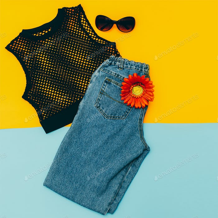 Vintage blue jeans and  stylish black top. Summer Lady outfit