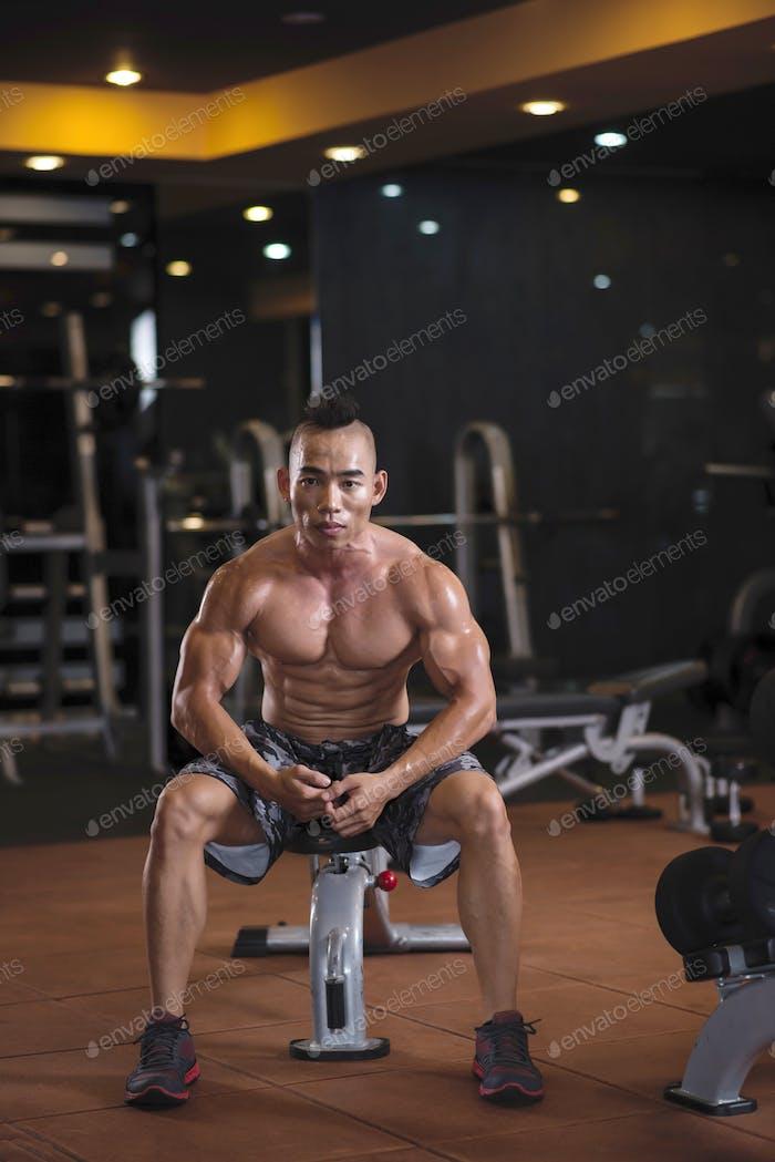 Tired sweaty sportsman