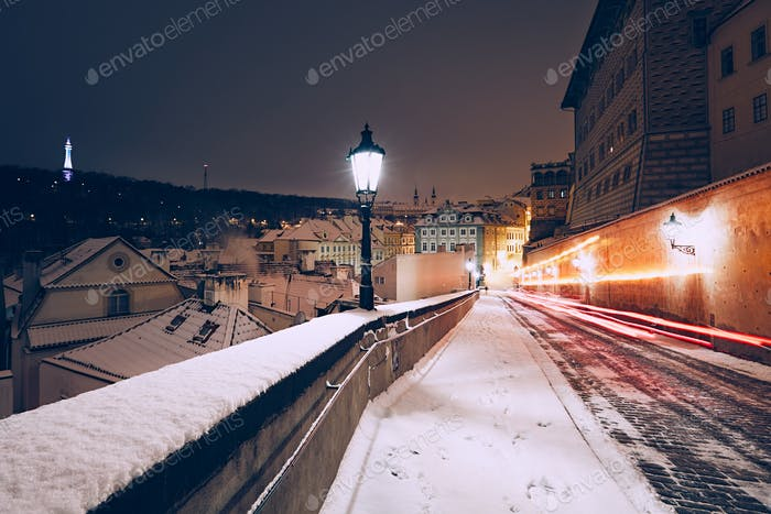 Winter night in the ancient city