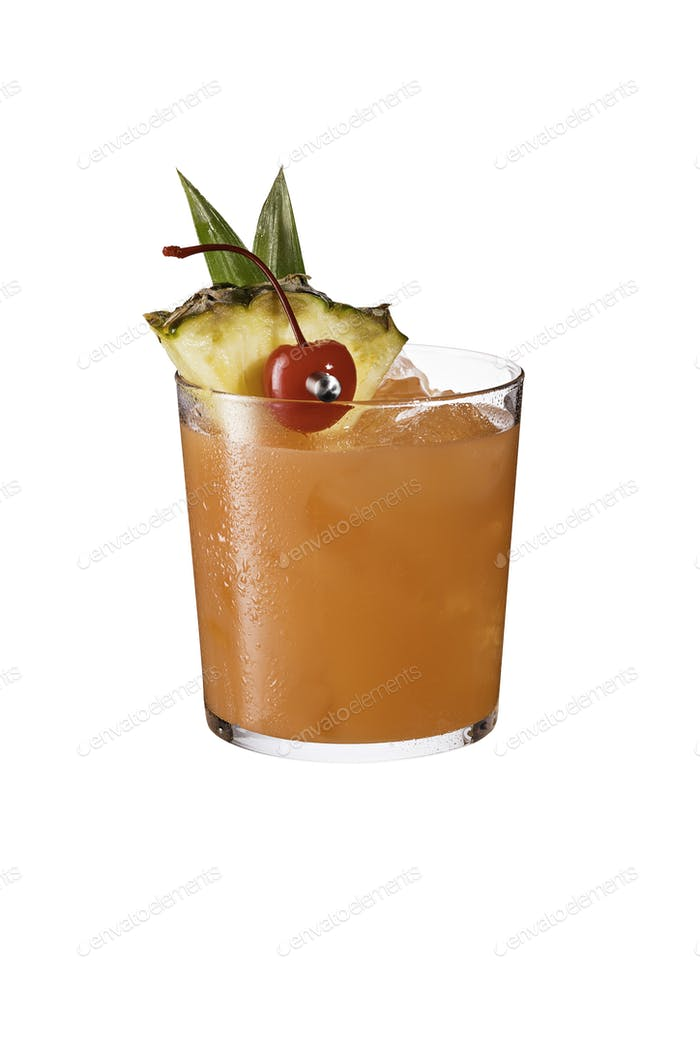 Refreshing Rum Mai Tai Cocktail on White