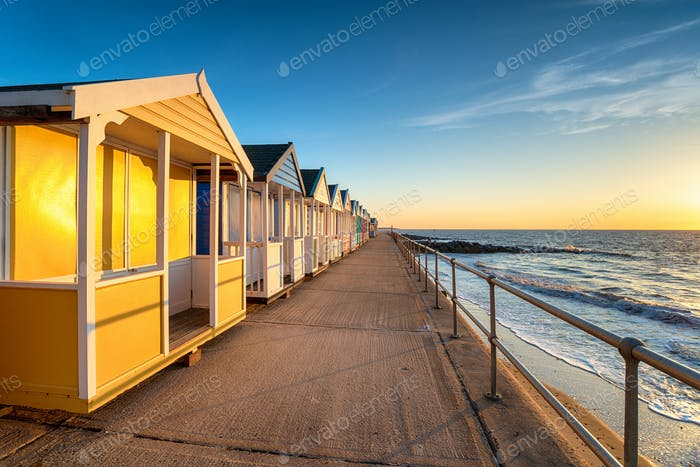 Colorful beach huts on the prom at Southwold