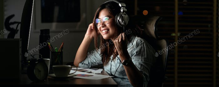 Banner, web page or cover template of Portrait of Asian Businesswoman listening