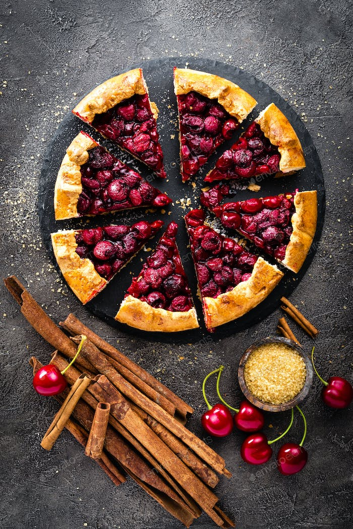 Fruit pie. Sweet pie, tart with fresh cherry. Delicious cake with cherry