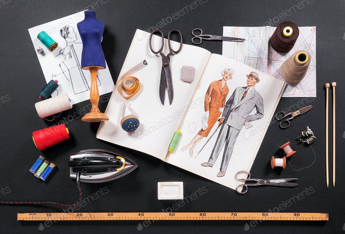 Selection of tools for a tailor or seamstress