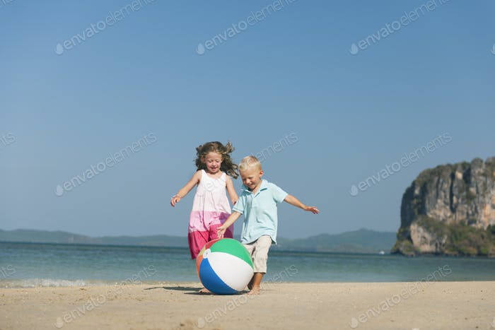 Child Sibling Ball Beach Carefree Summer Concept
