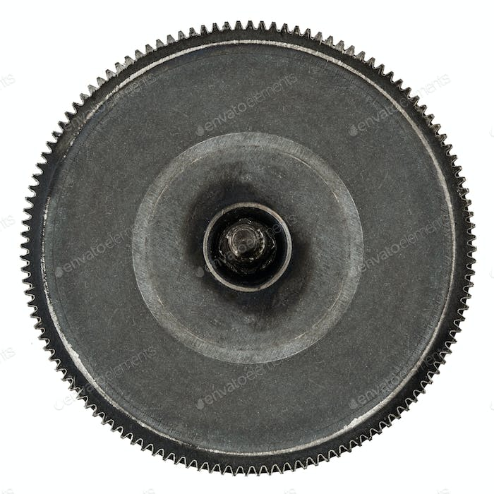 One gear wheel from metal closeup, isolated on white background