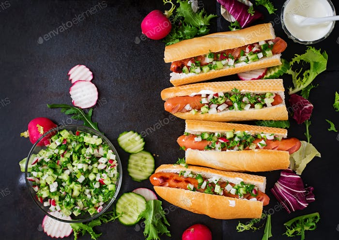 Healthy Hot Dog dressed with yogurt and cucumber salsa with radishes on dark backgroud. Top view