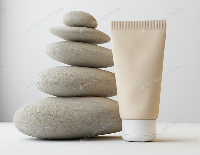 Composition with body cream in jars on light background. Mock up for product display.