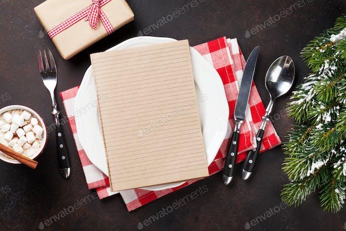 Christmas dinner plate, silverware, fir tree, hot chocolate