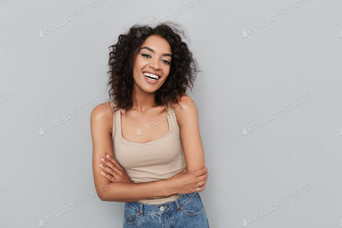 Portrait of a happy young african woman