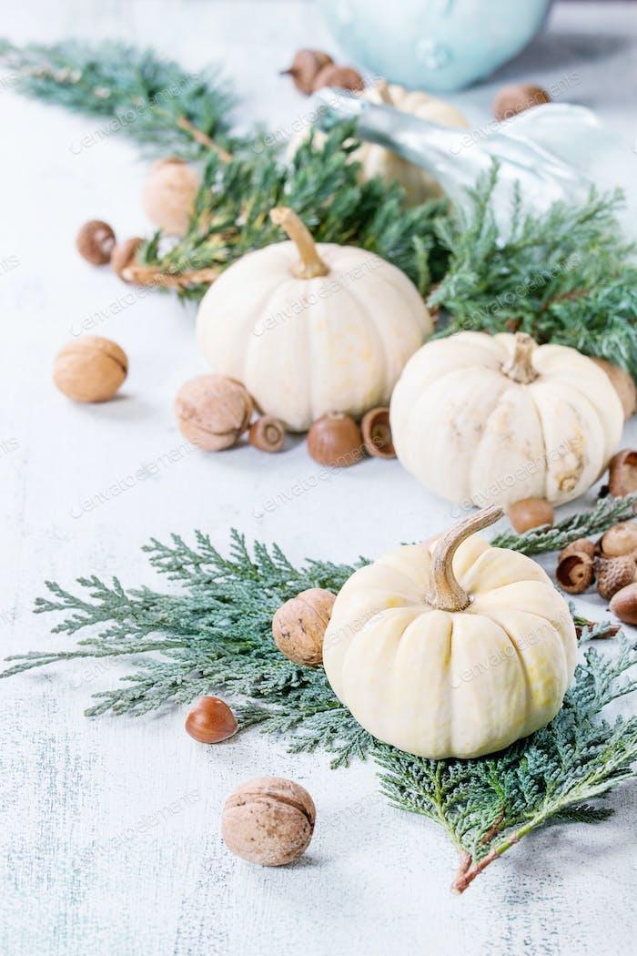 White decorative pumpkins