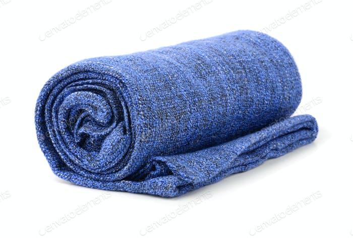 Blue rolled blanket