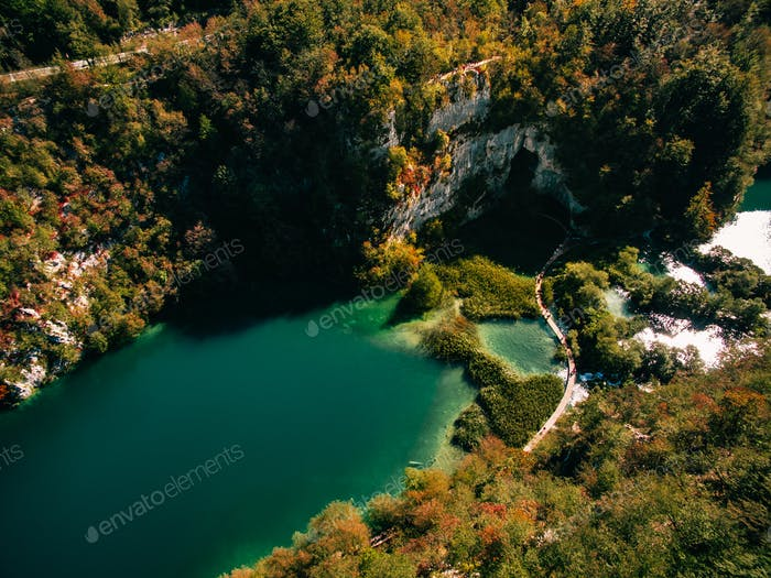 Aerial view of Plitvice national park waterfalls, Croatia