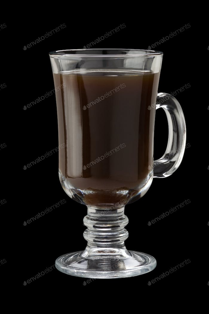 glass cup of coffee  on black