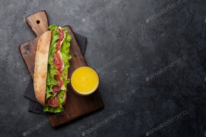 Fresh submarine sandwich