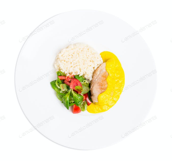 Roasted chicken fillet with saffron mousse.