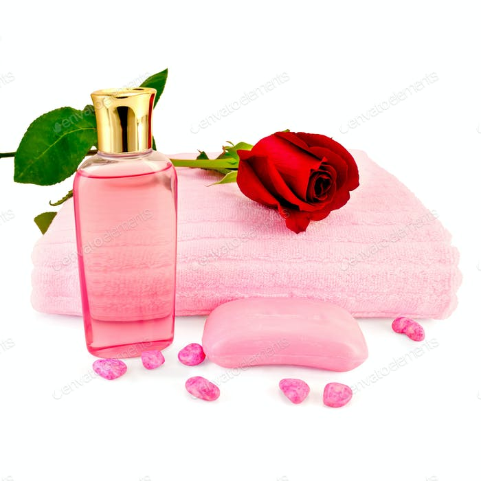 Shower gel with soap and a rose