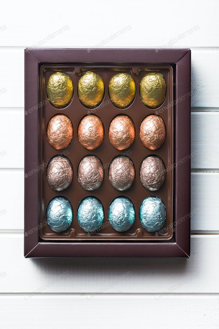 chocolate eggs in box