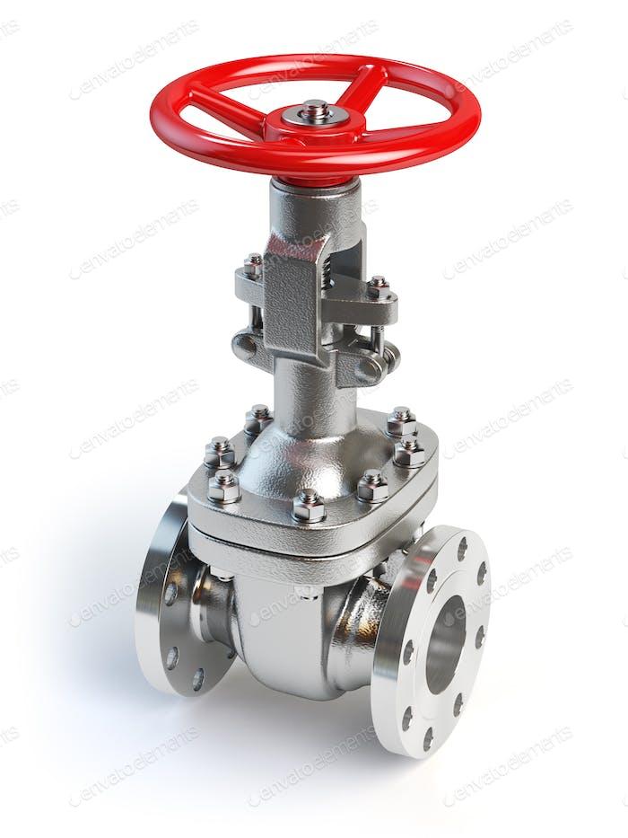 Válvula de tubería de gas aislada en blanco