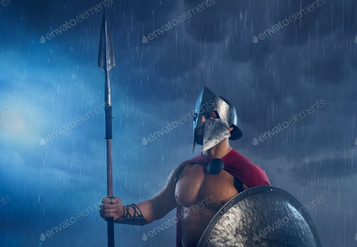 Spartan warrior with spear and shield