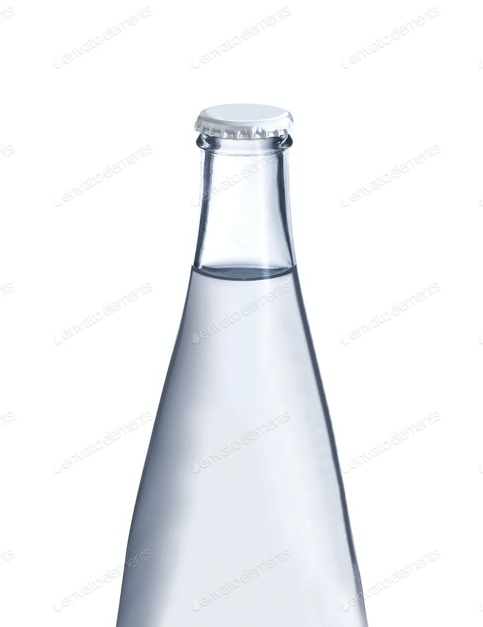 Water in glass bottle isolated