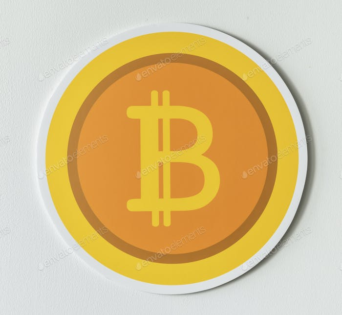 Golden bitcoin cryptocurrency icon isolated