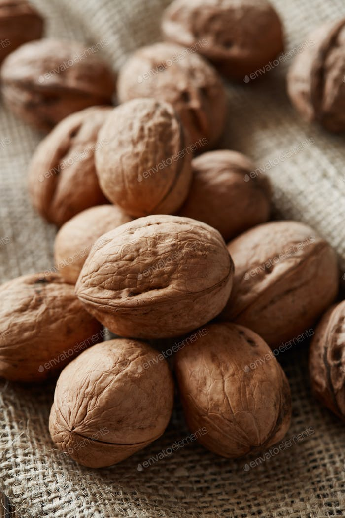 Walnuts and kernels with burlap fabric on a dark rusty wood backdrop