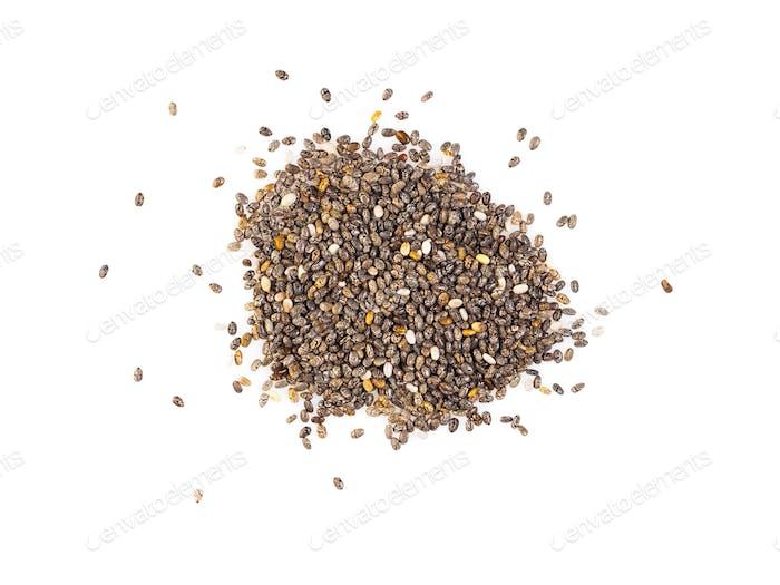 Chia-Samen isoliert auf weißem Hintergrund, Draufsicht, Nahaufnahme