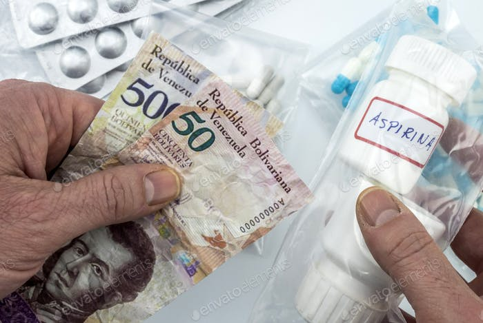 Man buying basic medication in venezuela, shady deal of medicines