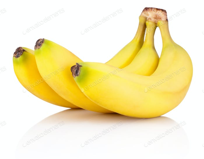 Three of Ripe bananas isolated on a white background