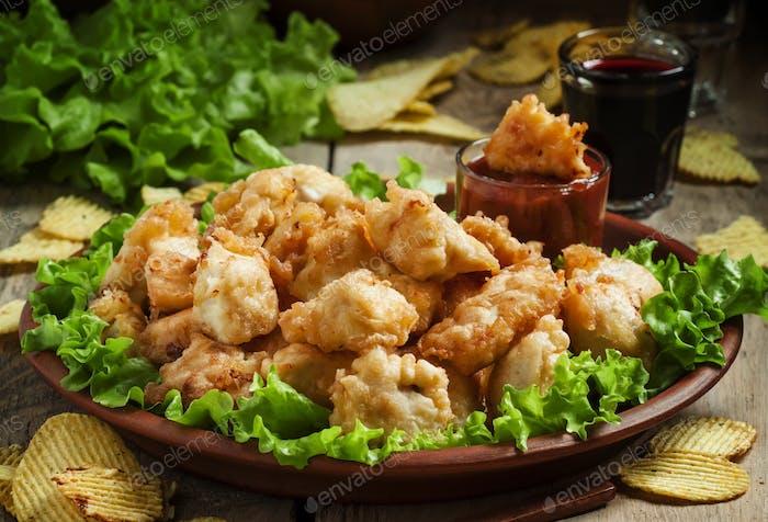 Nuggets, Hühner-Tempura mit grünem Salat