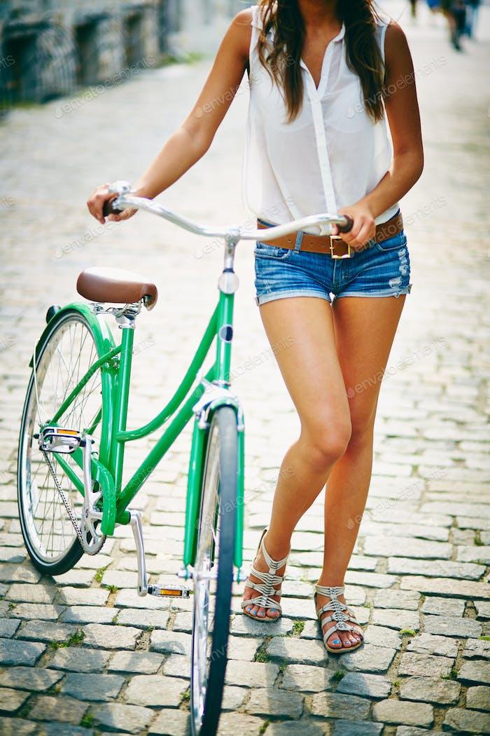 Female with bike