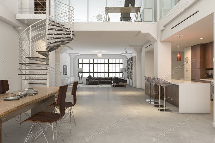 3d rendering loft classic interior of kitchen dining and living