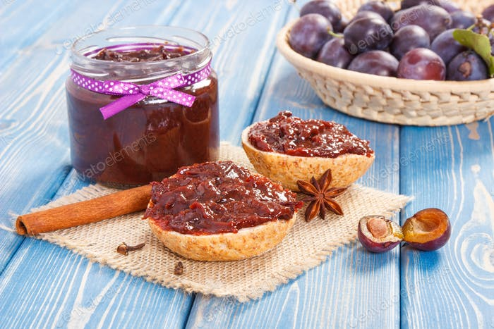 Sandwiches with plum marmalade or jam, healthy sweet snack concept