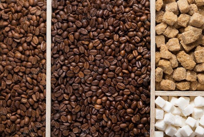 coffee beans in wooden plank box