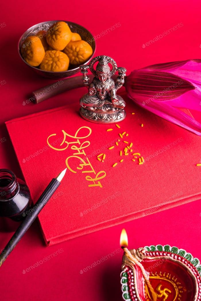 Shubha Labh Written over Accounts Book