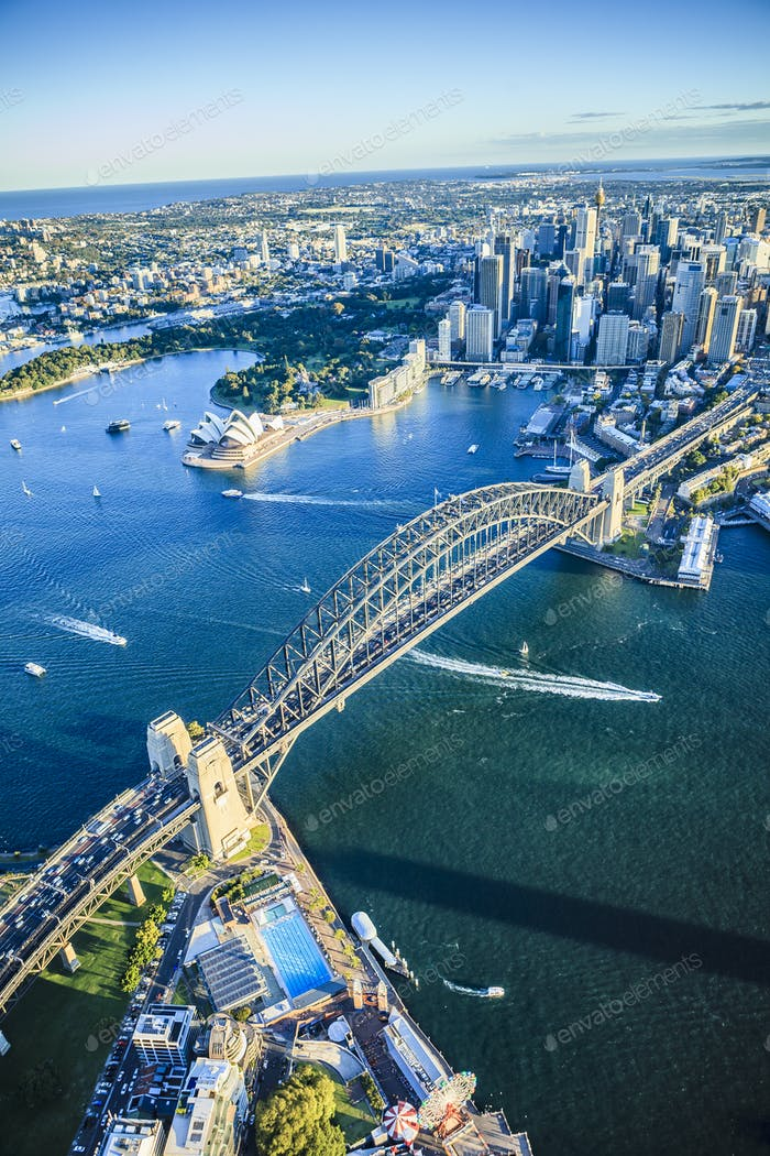 54900,Aerial view of Sydney cityscape, Sydney, New South Wales, Australia