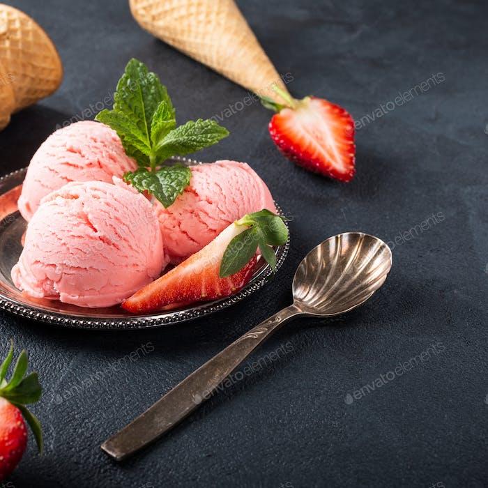 Flat lay with strawberry ice cream
