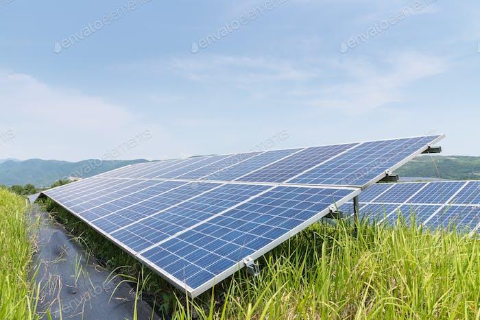 solar power panels closeup for green energy on the hillside