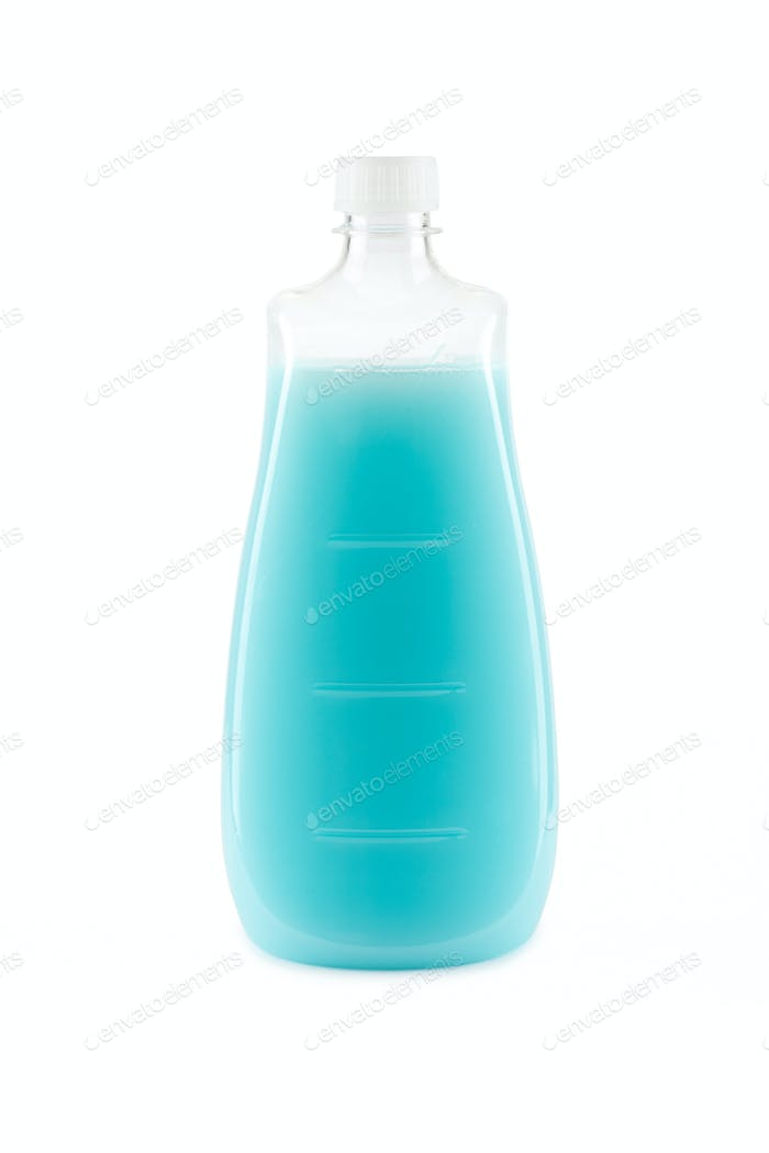 Blue shampoo bottle