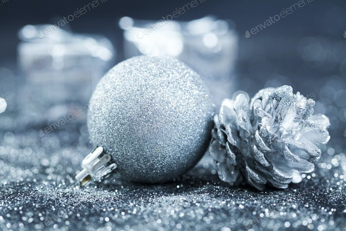 Close up on Christmas tree decorations