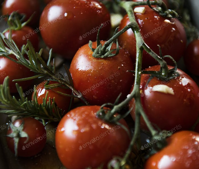 Cherry tomatoes with rosemary food photography recipe idea