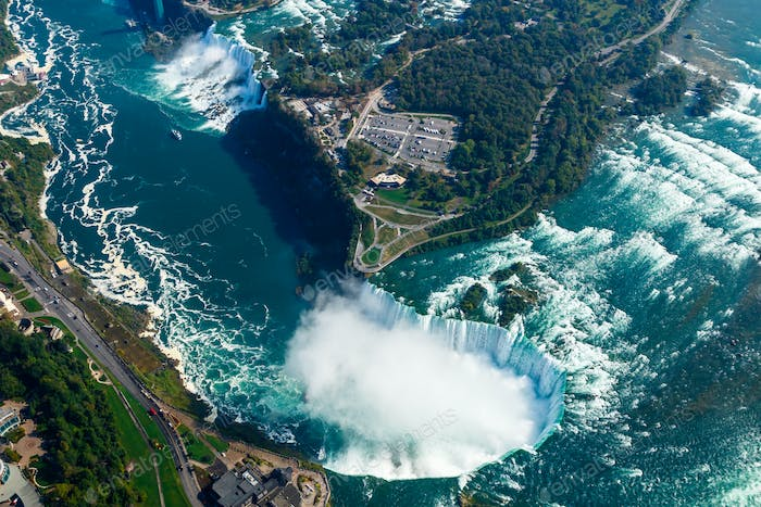 Fantastic aerial views of the Niagara Falls, Ontario, Canada