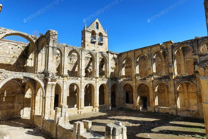 Ruins of an ancient abandoned monastery in Santa Maria de rioseco, Spain