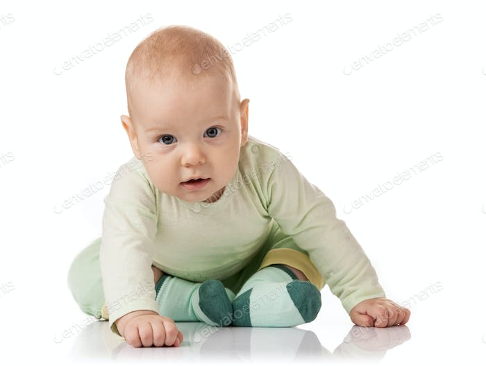 Cute baby boy over white background