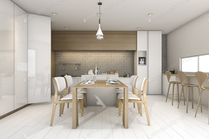 3d rendering white loft wood kitchen design with lamp