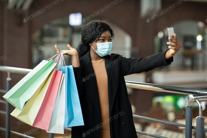 Selfie during Black Friday and seasonal sale at mall