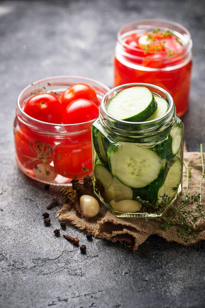 Assortment of pickled vegetable in jars